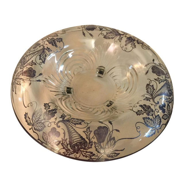 Sterling Silver Overlay Crystal Bowl - Image 1 of 4