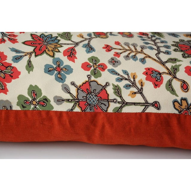 Japanese Vintage Silk Print Textile Pillow - Image 3 of 4