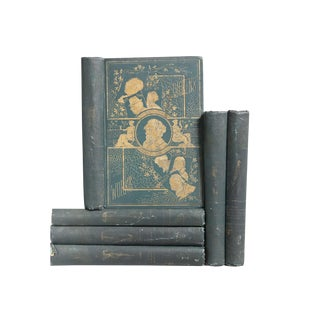 Antique Green Charles Dickens Books - Set of 6