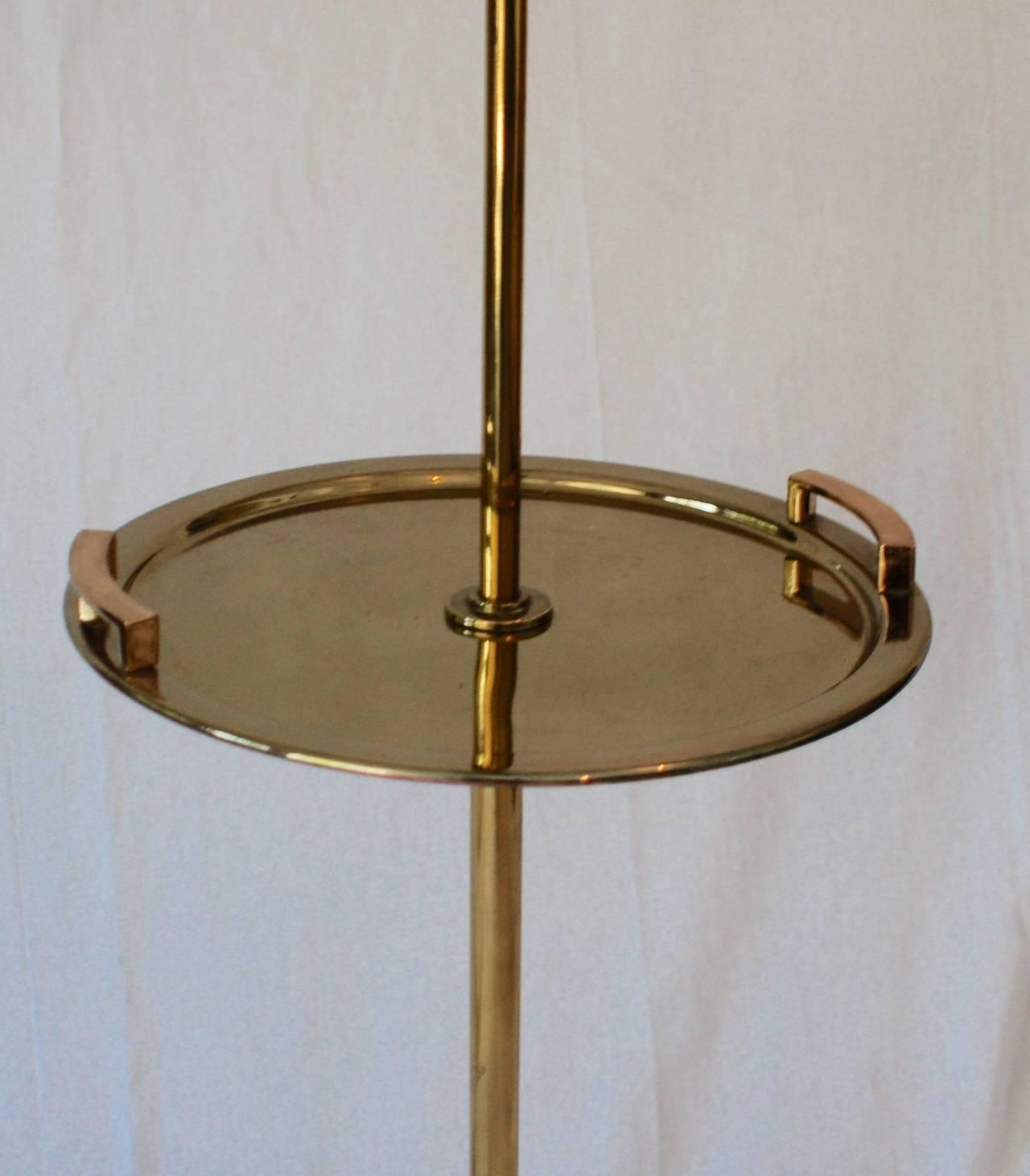 Brass Floor Standing Lamp With Brass Tray Table   Image 2 Of 7