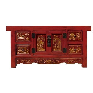 Rustic Red Chinese TV Credenza