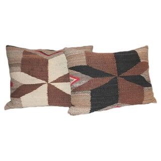 Pair of Navajo Saddle Blanket Weaving Pillows