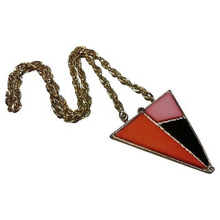 Abstract Color Block Pendant Necklace