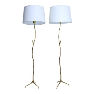 "Pair of Bronze Maison Arlus ""twig"" Floor Lamps"