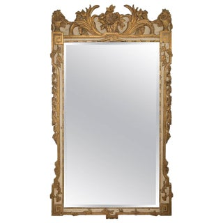 Louis XVI Style Parcel-Gilt and Cream-Painted Wall Mirror