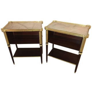 Marble Top Mahogany End Tables - A Pair