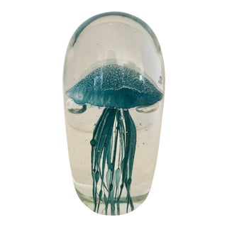 Turquoise Jellyfish Paperweight / Decor