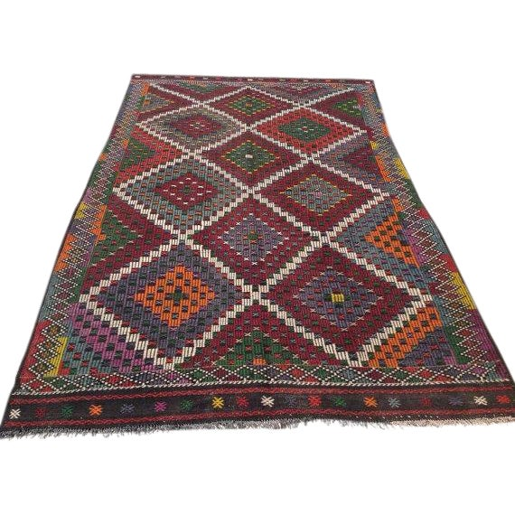 "Vintage Turkish Kilim Rug - 6'9"" X 11'4"" - Image 1 of 6"