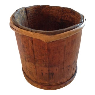 Antique Wooden Bucket With Unique Vine Trim on Rim