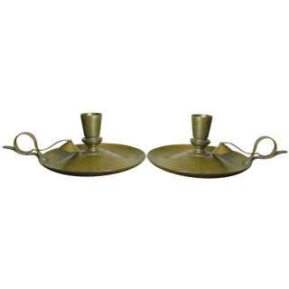 Arts & Crafts Brass Candlesticks - A Pair