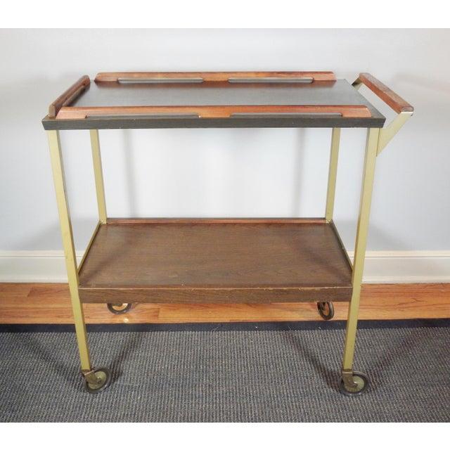 Mid-Century Wood Tray Bar Cart - Image 3 of 5