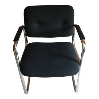 Mid Century Industrial All-Steel Co. Black Upholstered Chrome Chair