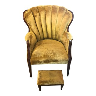 Antique 1920s Crushed Yellow Velvet Arm Chair with Footstool