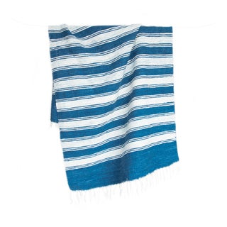 Blue & White Handwoven Striped Rug - 2′6″ × 5′