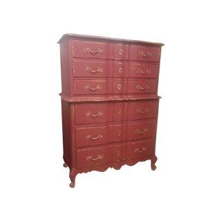 French Red & Gold Leaf Highboy Dresser
