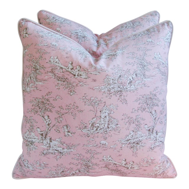 Desinger French Pink Toile & Velvet Pillows - Pair - Image 1 of 11