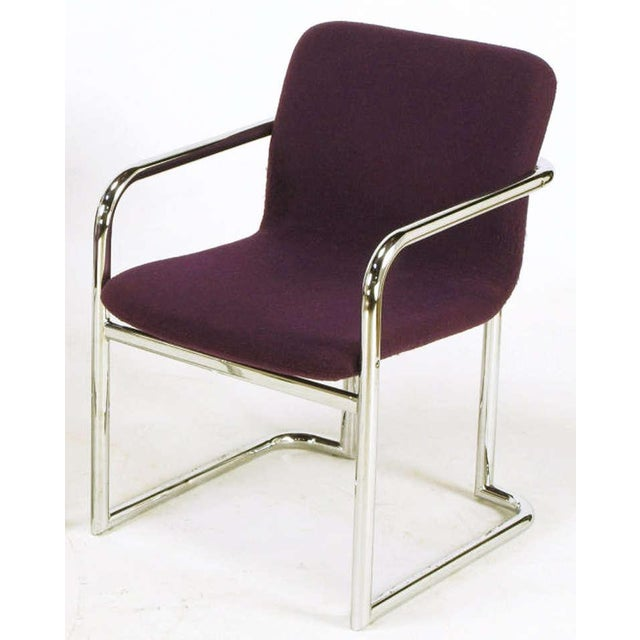 Pair Chrome & Violet Wool Sled Arm Chairs - Image 6 of 9