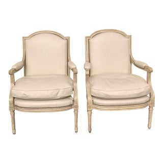 White Painted French Leather Arm Chairs - a Pair