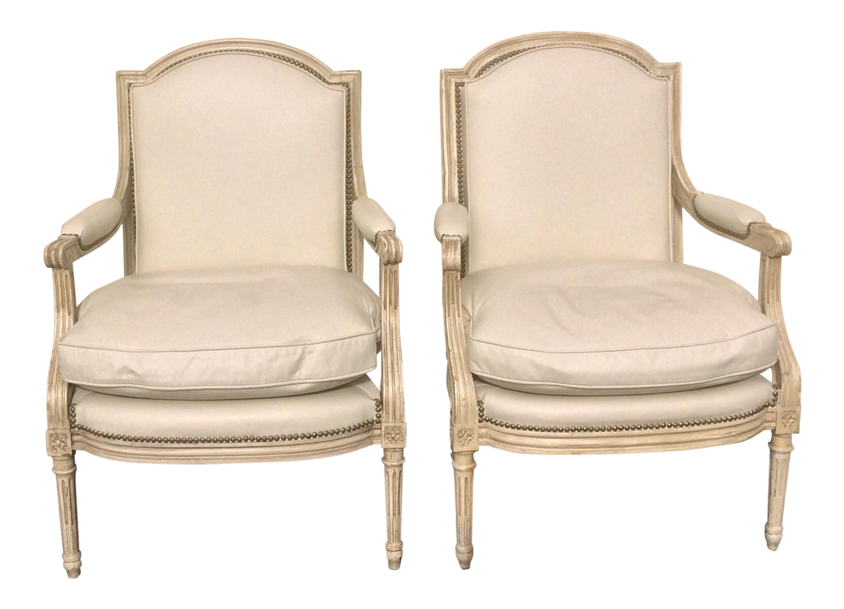 white painted french leather arm chairs a pair