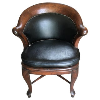 Antique Black Leather Library Chair