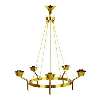 Antique Brass & Rope Chain 5 Light Chandelier