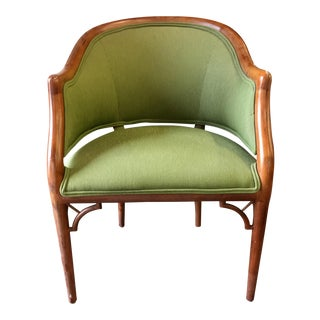 Green Corduroy & Bent Wood Chair