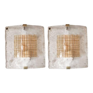 Pair of Mid-Century Modernist Sconces in Handblown Murano Glass by I Tre