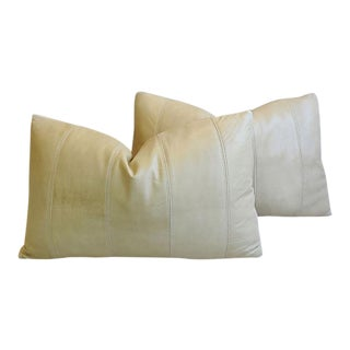 """Ultra Soft Creamy Stone Eldeman Leather Feather/Down Pillows 24"""" X 16"""" - Pair"""