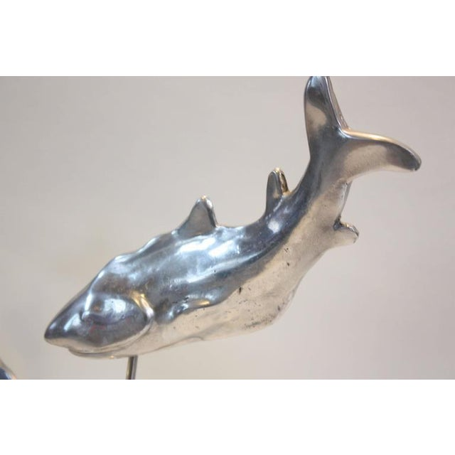 Image of Aluminium and Lucite Trio of Sharks Sculpture