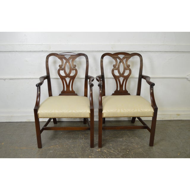 Baker Vintage Set of 6 Solid Mahogany Chippendale Style Dining Chairs - Image 2 of 10