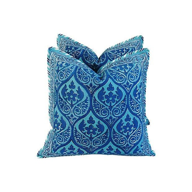 Custom Blue Hand-Blocked & Printed Pillows - Pair - Image 4 of 6