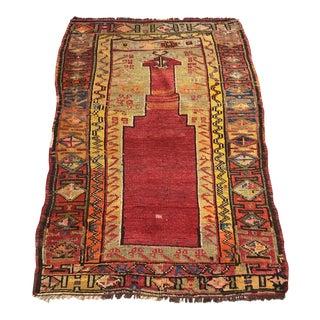 """Antique Turkish Mucur Prayer Rug - 2'10"""" x 4'3"""""""