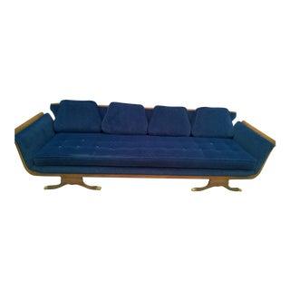 Mid-Century Modern Navy Blue Sofa