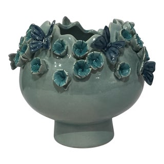 Kenneth Ludwig Small Flower & Butterfly 3-Dimensional Vase