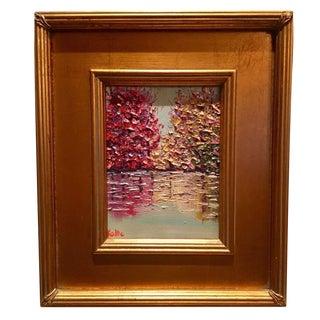 "Sarah Kadlic Framed ""Abstract Fall Landscape Reflections"" Original Oil Painting"