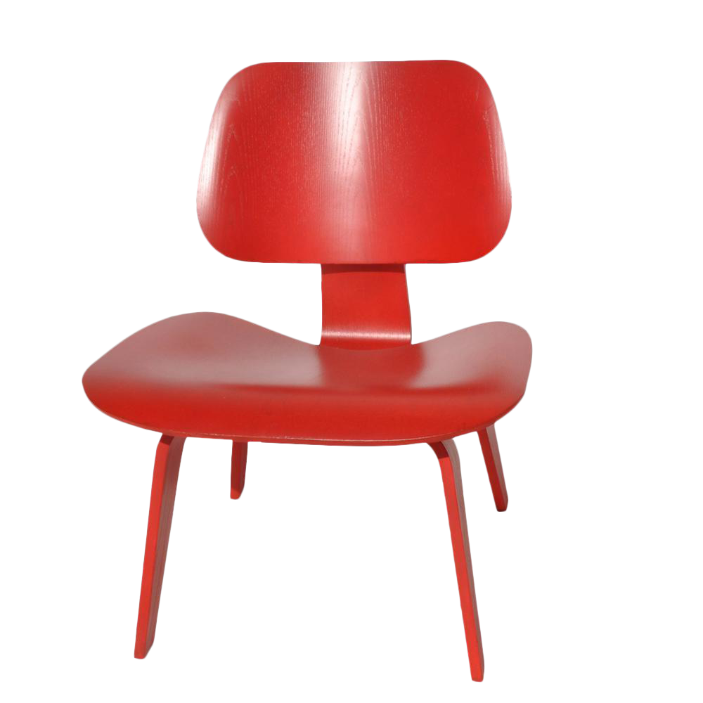 red lcw molded lounge chair