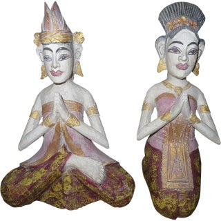 Wooden Balinese Couple - A Pair