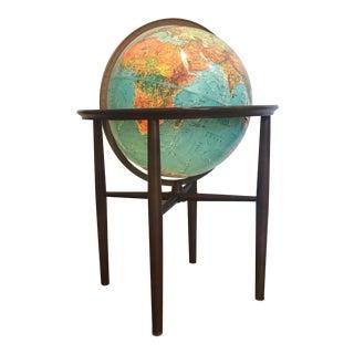 Jens Risom Style Lighted World Globe