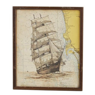 Framed Map with Painted Ship