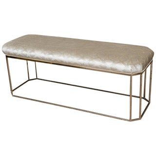 Milo Baughman Hexagonal Chrome and Upholstered Bench
