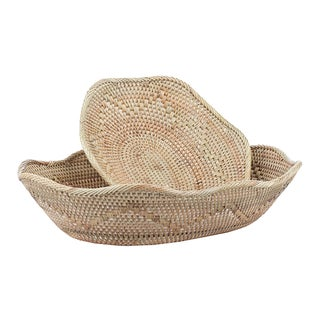 Sinuous Rattan Baskets - A Pair