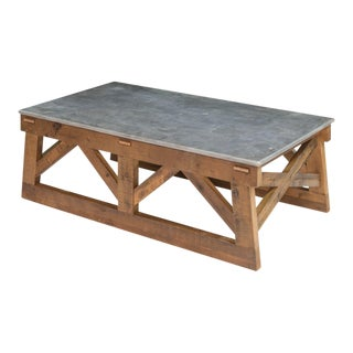 Sarreid LTD Pine & Marble Coffee Table