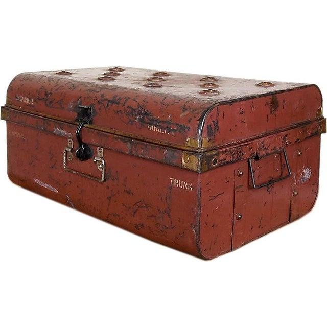 1950s Merlot Red Iron Traveler's Trunk - Image 1 of 5