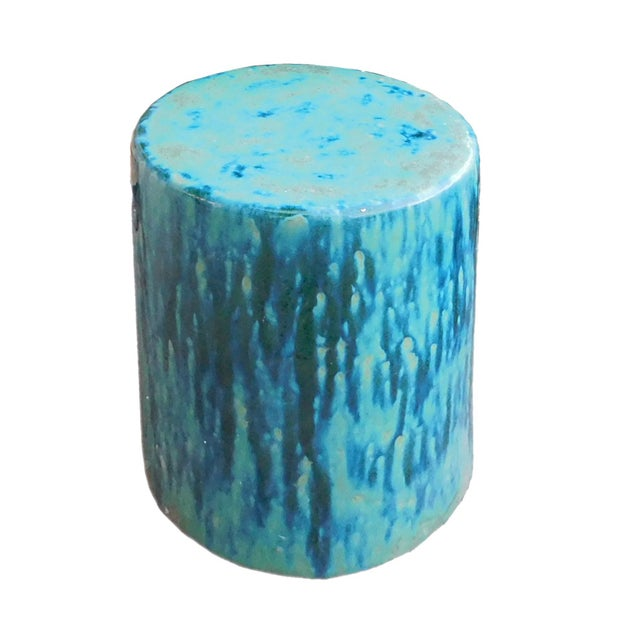 Ceramic Turquoise Green Round Garden Stool - Image 2 of 6