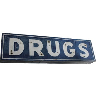 "Vintage Industrial Metal Neon ""Drugs"" Sign"