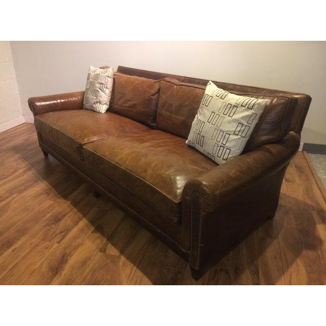 Ralph Lauren Leather Sofa With Throw Pillows Chairish