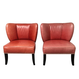 H.D. Buttercup Rustic Leather Chairs - Pair