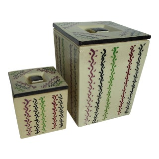 Revelation Japanese Art Deco Ceramic Boxes- Set of 2