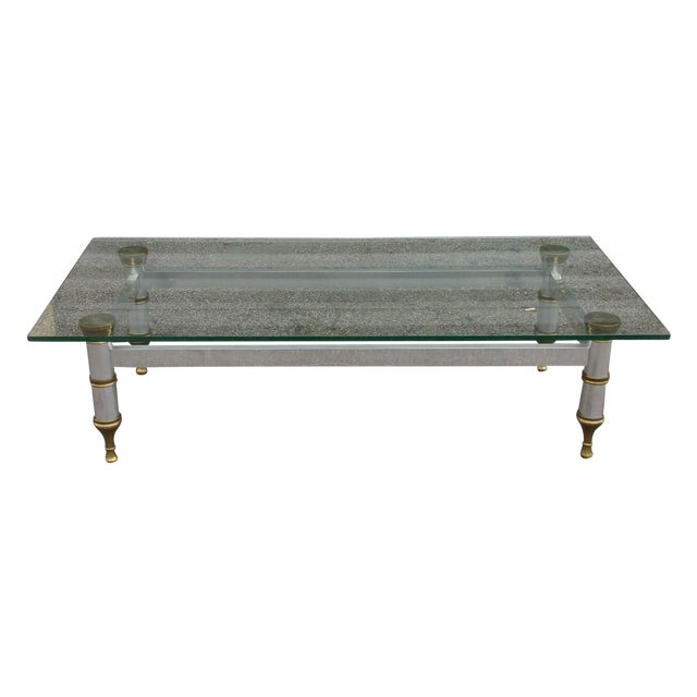 Mid-Century Aluminum & Brass Coffee Table - Image 1 of 11