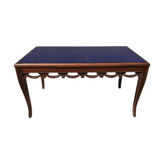 Art Deco Coffee Table with Blue Silverlast Glass